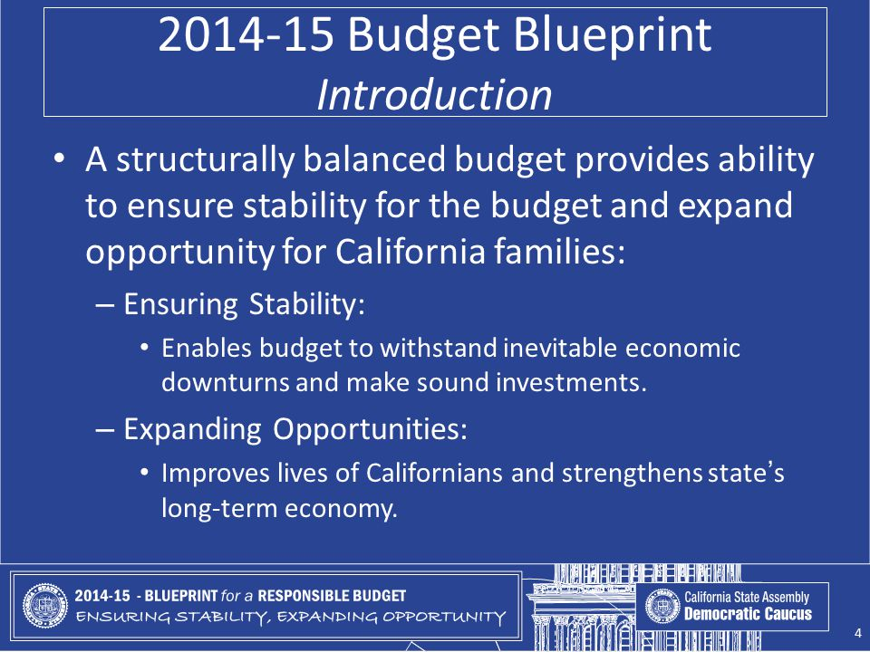 2014-15 Budget Blueprint Introduction A structurally balanced budget provides ability to ensure stability for the budget and expand opportunity for Ca