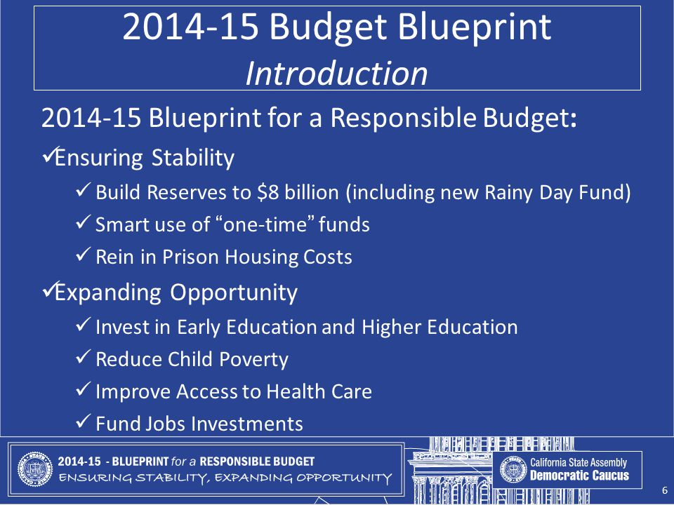 2014-15 Budget Blueprint Introduction 2014-15 Blueprint for a Responsible Budget: Ensuring Stability Build Reserves to $8 billion (including new Rainy