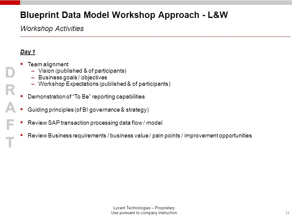 14 DRAFTDRAFT Lucent Technologies – Proprietary Use pursuant to company instruction DRAFTDRAFT Blueprint Data Model Workshop Approach - L&W Workshop Activities Day 1  Team alignment –Vision (published & of participants) –Business goals / objectives –Workshop Expectations (published & of participants)  Demonstration of To Be reporting capabilities  Guiding principles (of BI governance & strategy)  Review SAP transaction processing data flow / model  Review Business requirements / business value / pain points / improvement opportunities