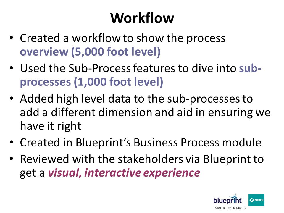 Workflow Created a workflow to show the process overview (5,000 foot level) Used the Sub-Process features to dive into sub- processes (1,000 foot level) Added high level data to the sub-processes to add a different dimension and aid in ensuring we have it right Created in Blueprint's Business Process module Reviewed with the stakeholders via Blueprint to get a visual, interactive experience