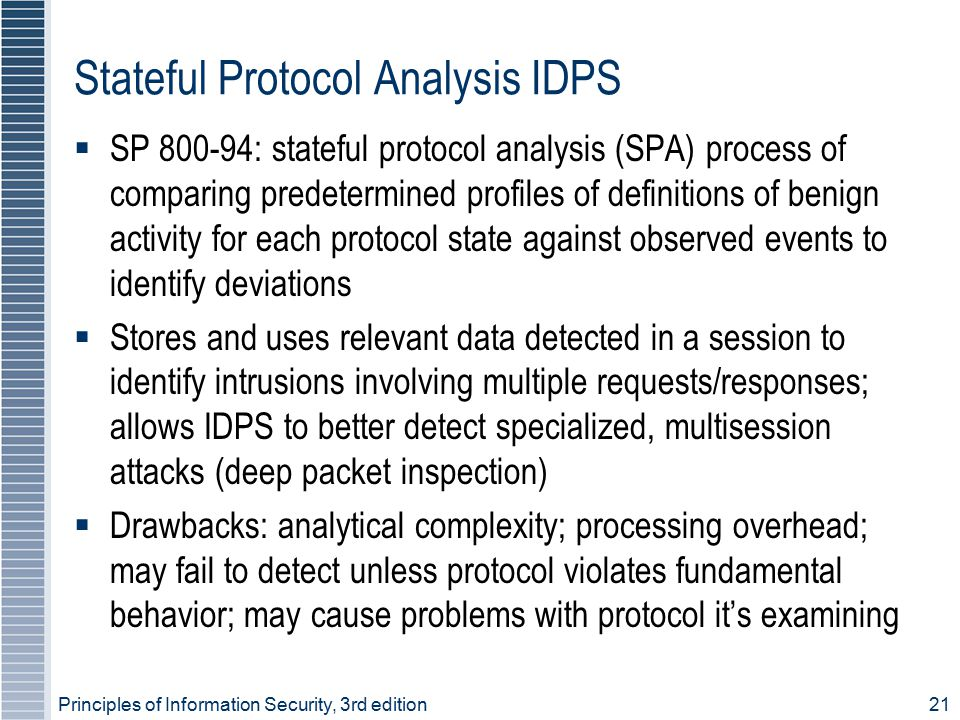 Principles of Information Security, 3rd edition21 Stateful Protocol Analysis IDPS  SP 800-94: stateful protocol analysis (SPA) process of comparing p