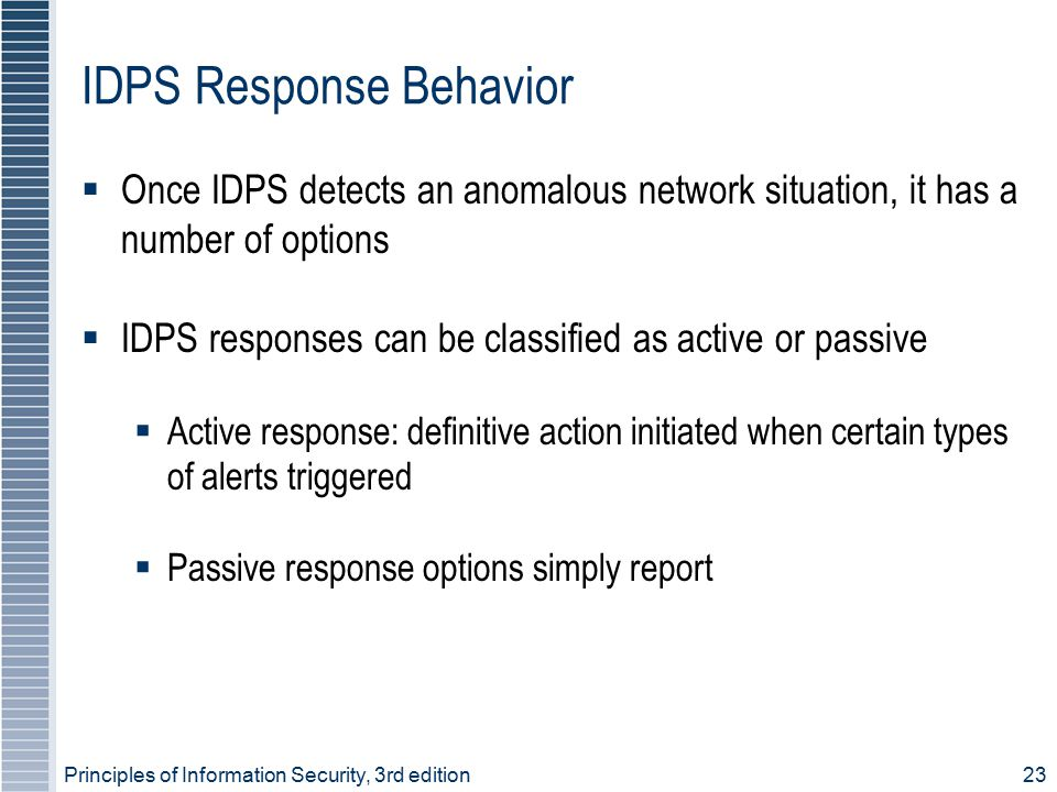 Principles of Information Security, 3rd edition23 IDPS Response Behavior  Once IDPS detects an anomalous network situation, it has a number of option
