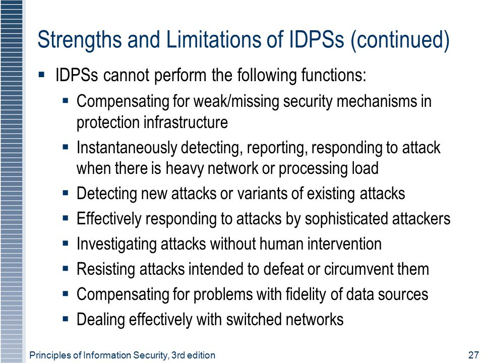 Principles of Information Security, 3rd edition27 Strengths and Limitations of IDPSs (continued)  IDPSs cannot perform the following functions:  Com