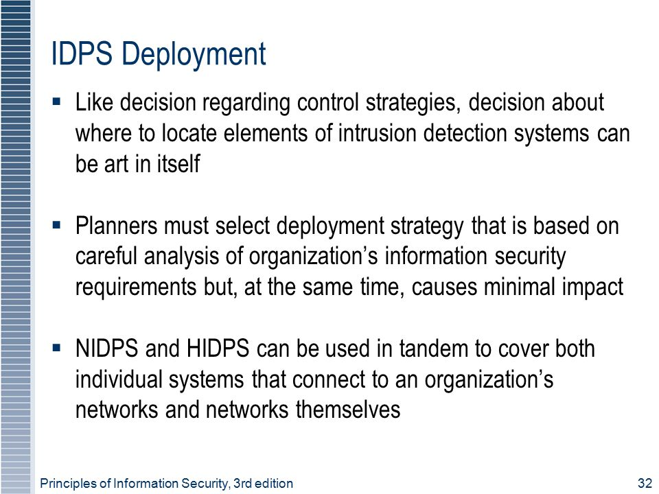 Principles of Information Security, 3rd edition32 IDPS Deployment  Like decision regarding control strategies, decision about where to locate element