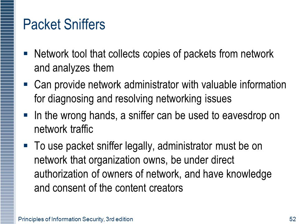 Principles of Information Security, 3rd edition52 Packet Sniffers  Network tool that collects copies of packets from network and analyzes them  Can
