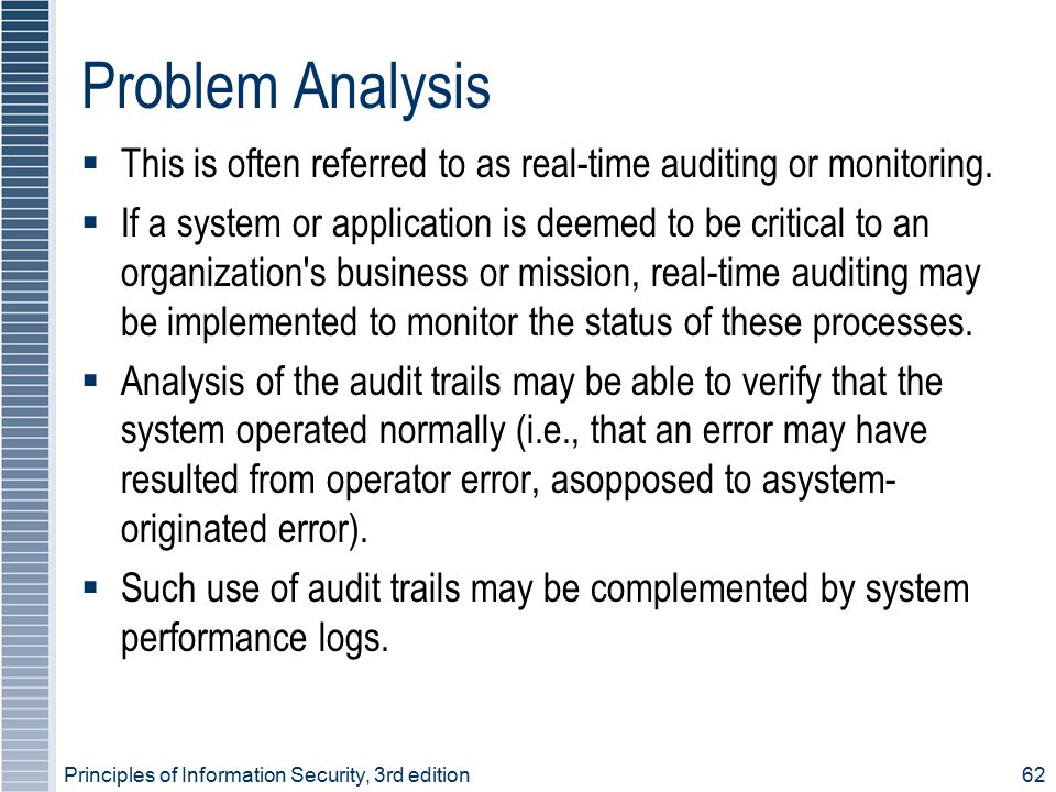 Problem Analysis  This is often referred to as real-time auditing or monitoring.  If a system or application is deemed to be critical to an organiza