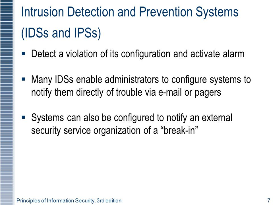 Principles of Information Security, 3rd edition7 Intrusion Detection and Prevention Systems (IDSs and IPSs)  Detect a violation of its configuration