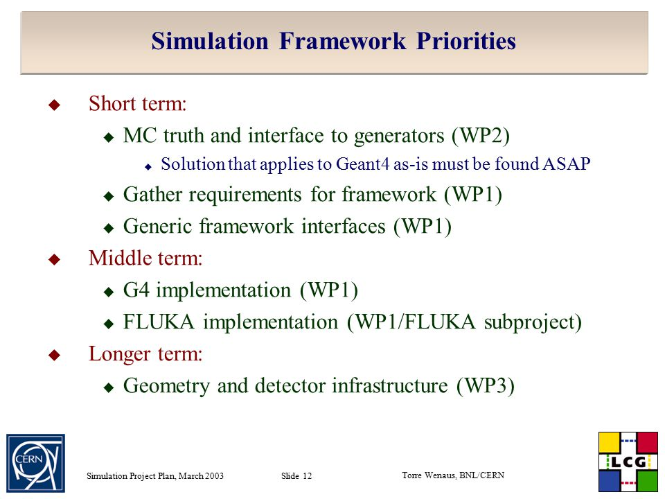 Torre Wenaus, BNL/CERN Simulation Project Plan, March 2003 Slide 12 Simulation Framework Priorities  Short term:  MC truth and interface to generators (WP2)  Solution that applies to Geant4 as-is must be found ASAP  Gather requirements for framework (WP1)  Generic framework interfaces (WP1)  Middle term:  G4 implementation (WP1)  FLUKA implementation (WP1/FLUKA subproject)  Longer term:  Geometry and detector infrastructure (WP3)
