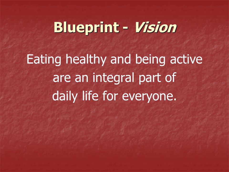 Blueprint - Vision Eating healthy and being active are an integral part of daily life for everyone.