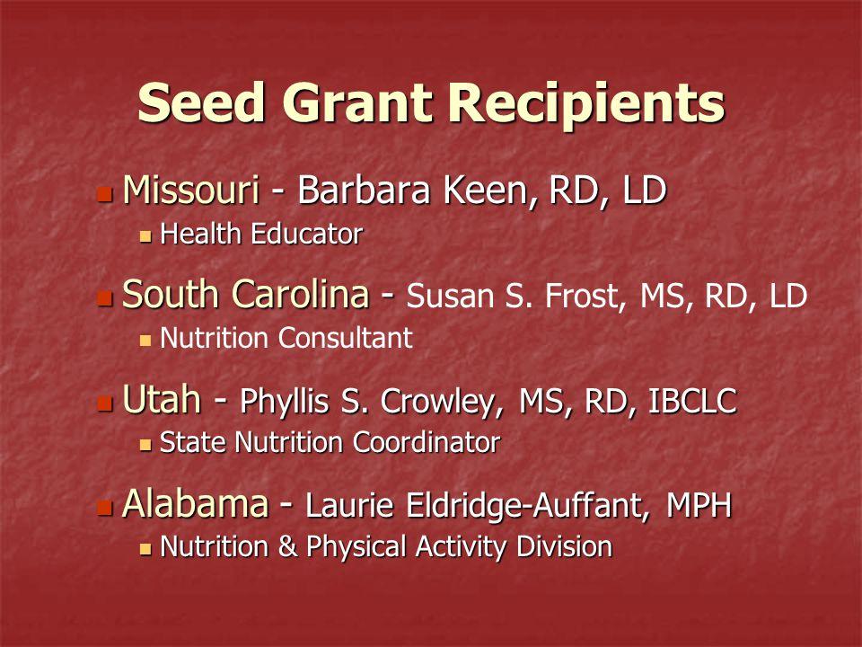 Seed Grant Recipients Missouri - Barbara Keen, RD, LD Missouri - Barbara Keen, RD, LD Health Educator Health Educator South Carolina - South Carolina - Susan S.