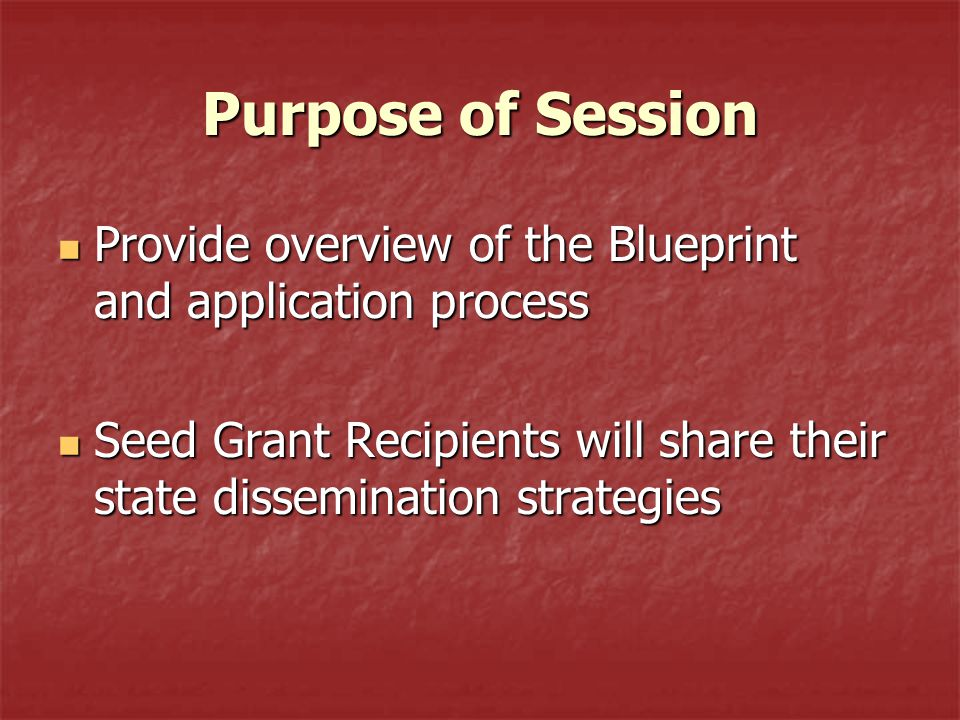 Purpose of Session Provide overview of the Blueprint and application process Provide overview of the Blueprint and application process Seed Grant Recipients will share their state dissemination strategies Seed Grant Recipients will share their state dissemination strategies
