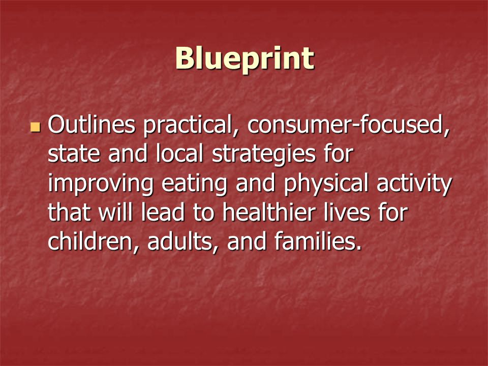 Blueprint Provides consumers, communities, organizations, agencies, and programs with strategies and potential actions to address priority nutrition and physical activity issues in the context of their own community resources and needs.