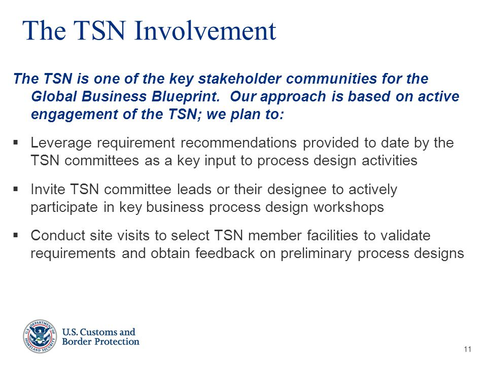 11 The TSN Involvement The TSN is one of the key stakeholder communities for the Global Business Blueprint.