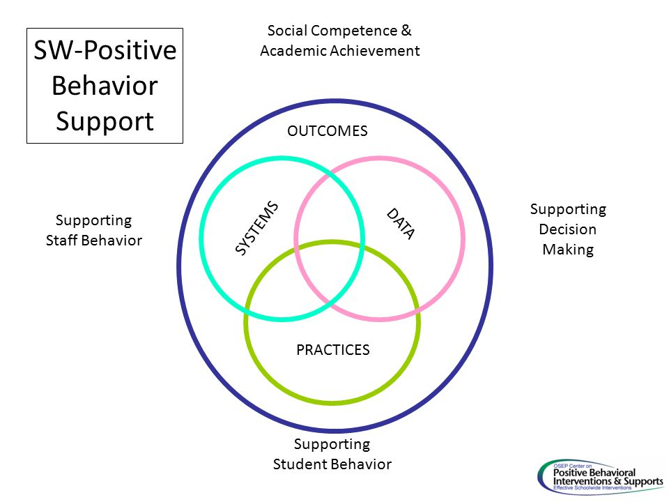 SYSTEMS PRACTICES DATA Supporting Staff Behavior Supporting Decision Making Supporting Student Behavior SW-Positive Behavior Support OUTCOMES Social Competence & Academic Achievement