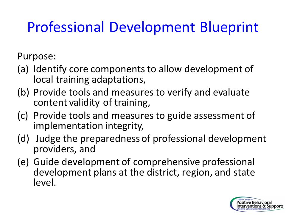 Professional Development Blueprint Purpose: (a)Identify core components to allow development of local training adaptations, (b)Provide tools and measu