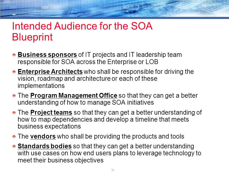 10 Intended Audience for the SOA Blueprint Business sponsors of IT projects and IT leadership team responsible for SOA across the Enterprise or LOB Enterprise Architects who shall be responsible for driving the vision, roadmap and architecture or each of these implementations The Program Management Office so that they can get a better understanding of how to manage SOA initiatives The Project teams so that they can get a better understanding of how to map dependencies and develop a timeline that meets business expectations The vendors who shall be providing the products and tools Standards bodies so that they can get a better understanding with use cases on how end users plans to leverage technology to meet their business objectives