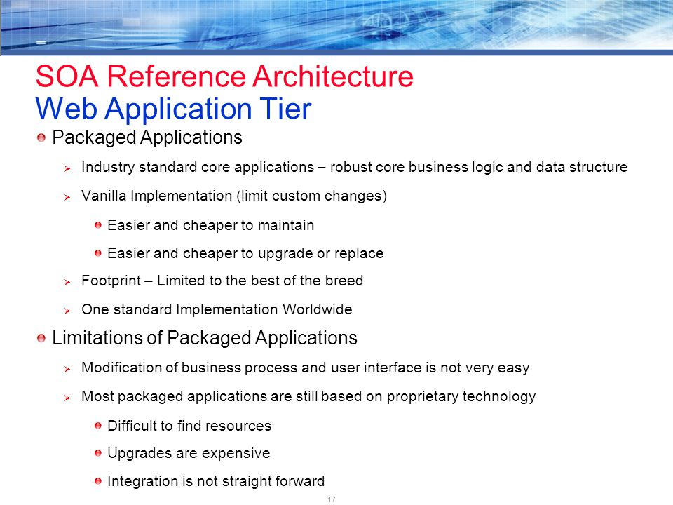 17 SOA Reference Architecture Web Application Tier Packaged Applications  Industry standard core applications – robust core business logic and data structure  Vanilla Implementation (limit custom changes) Easier and cheaper to maintain Easier and cheaper to upgrade or replace  Footprint – Limited to the best of the breed  One standard Implementation Worldwide Limitations of Packaged Applications  Modification of business process and user interface is not very easy  Most packaged applications are still based on proprietary technology Difficult to find resources Upgrades are expensive Integration is not straight forward