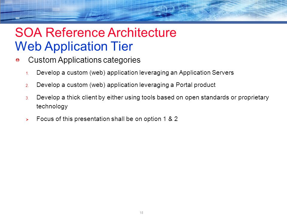 18 SOA Reference Architecture Web Application Tier Custom Applications categories 1.