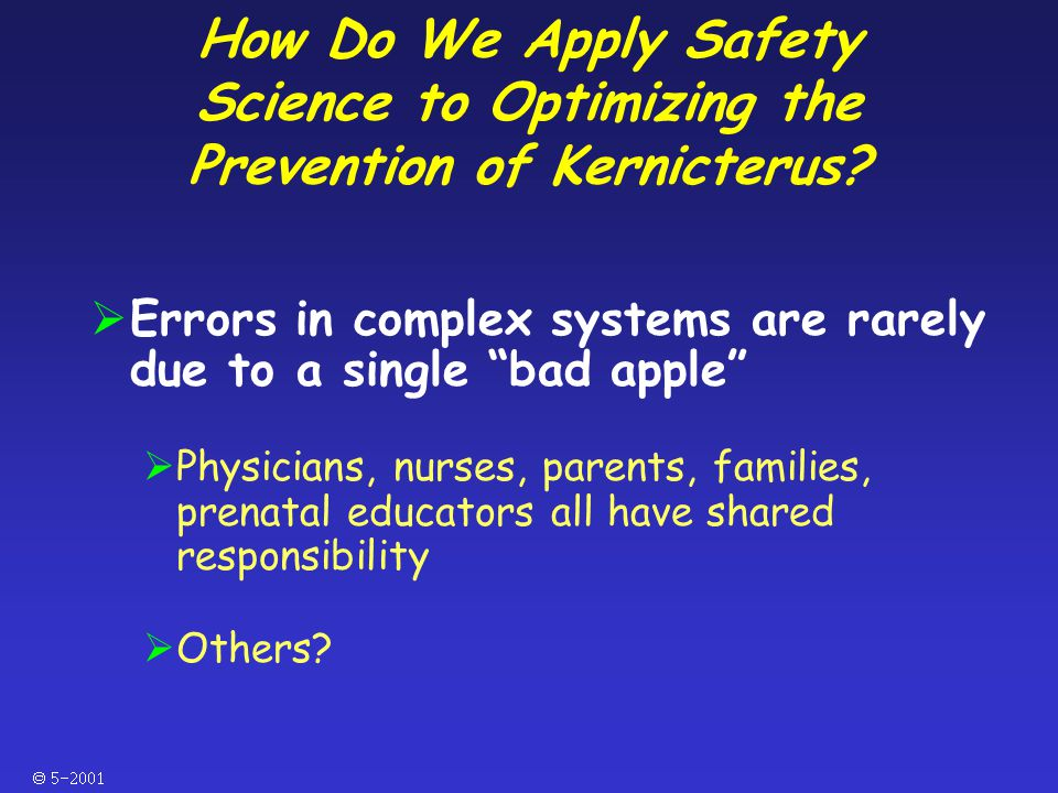  How Do We Apply Safety Science to Optimizing the Prevention of Kernicterus.