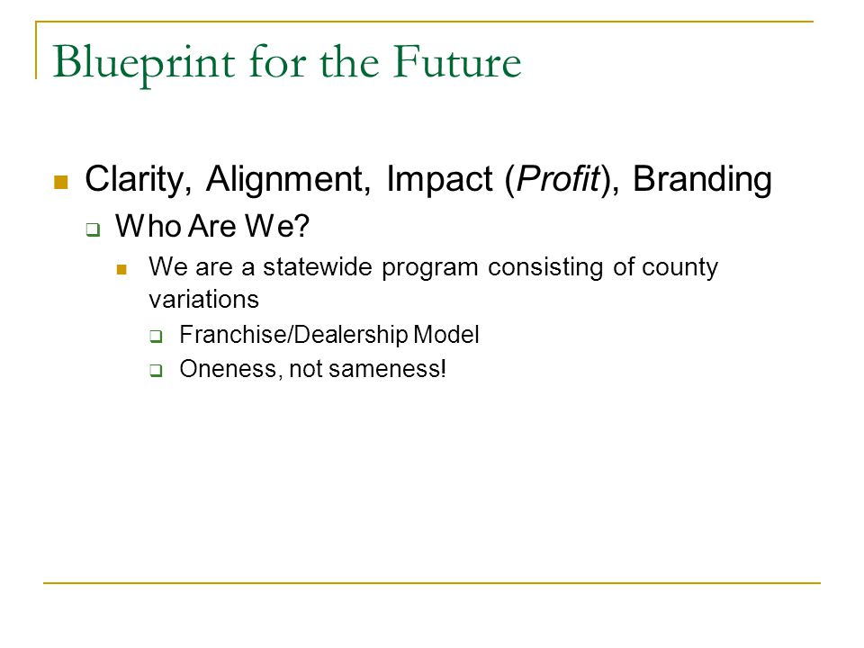Blueprint for the Future Clarity, Alignment, Impact (Profit), Branding  Who Are We.
