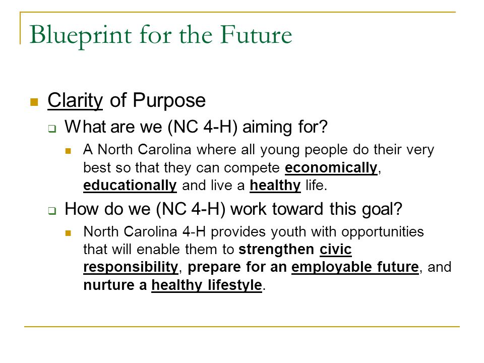 Blueprint for the Future Clarity of Purpose  What are we (NC 4-H) aiming for.