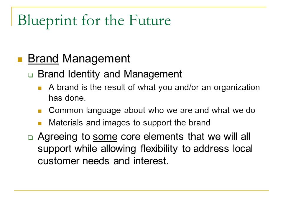 Blueprint for the Future Brand Management  Brand Identity and Management A brand is the result of what you and/or an organization has done.