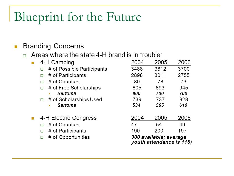 Blueprint for the Future Branding Concerns  Areas where the state 4-H brand is in trouble: 4-H Camping200420052006  # of Possible Participants348838123700  # of Participants289830112755  # of Counties 80 78 73  # of Free Scholarships 805 893 945  Sertoma 600 700 700  # of Scholarships Used 739 737 828  Sertoma 534 565 610 4-H Electric Congress200420052006  # of Counties 47 54 49  # of Participants 190200197  # of Opportunities300 available; average youth attendance is 115)