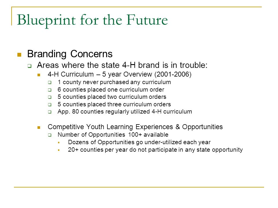Blueprint for the Future Branding Concerns  Areas where the state 4-H brand is in trouble: 4-H Curriculum – 5 year Overview (2001-2006)  1 county never purchased any curriculum  6 counties placed one curriculum order  5 counties placed two curriculum orders  5 counties placed three curriculum orders  App.