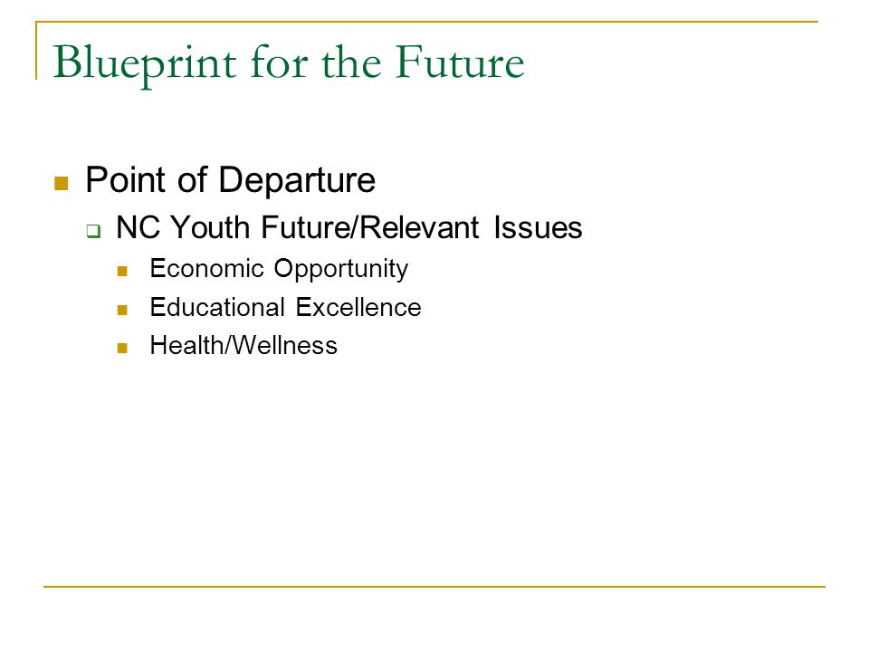 Blueprint for the Future Point of Departure  NC Youth Future/Relevant Issues Economic Opportunity Educational Excellence Health/Wellness