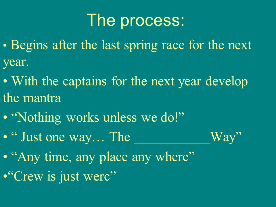 The process: Begins after the last spring race for the next year.