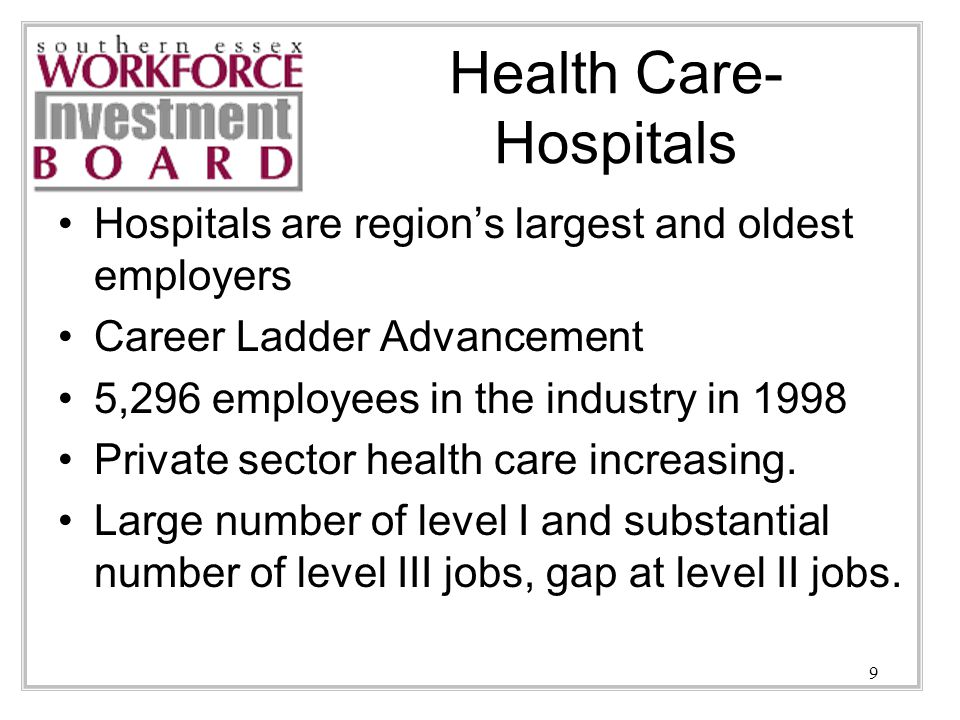 9 Health Care- Hospitals Hospitals are region's largest and oldest employers Career Ladder Advancement 5,296 employees in the industry in 1998 Private sector health care increasing.