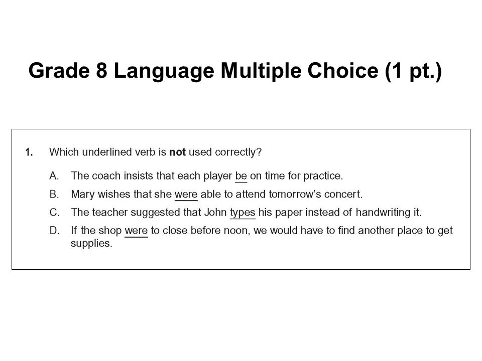 Grade 8 Language Multiple Choice (1 pt.)