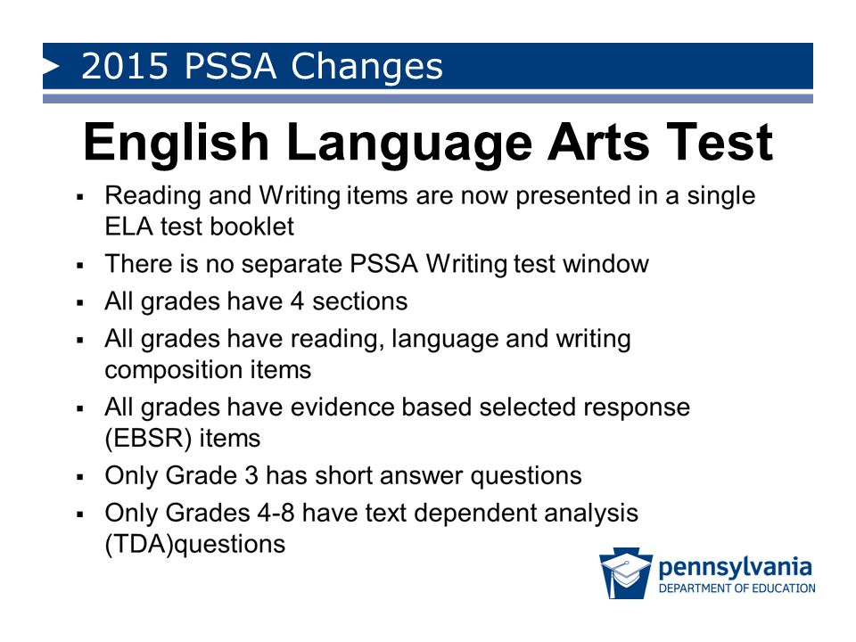 2015 PSSA Changes ELA Reporting Framework ELA Reporting Framework, Clusters, and Categories Reporting Category Code Reading Genre Literature TextA Informational TextB Core Competencies Key Ideas and Details [Key Ideas] A–K/B–K Craft and Structure, and Integration of Knowledge and Ideas [CSI] A–C/B–C Vocabulary Acquisition and Use [Vocabulary] A–V/B–V Writing C LanguageD Text Dependent AnalysisE
