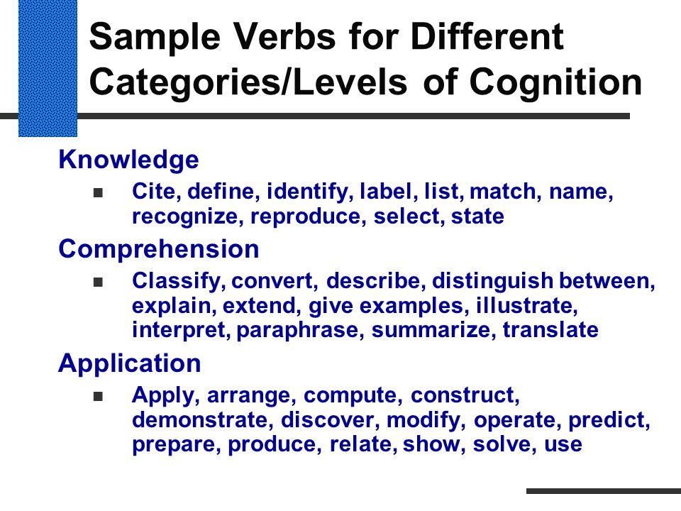 Sample Verbs for Different Categories/Levels of Cognition Knowledge Cite, define, identify, label, list, match, name, recognize, reproduce, select, st