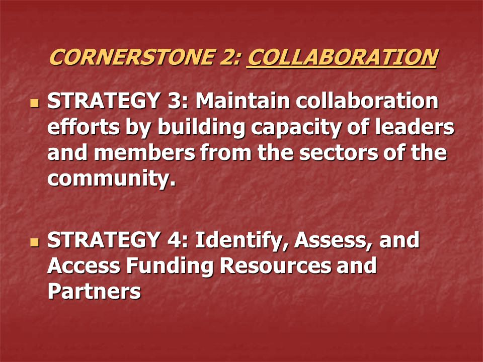 CORNERSTONE 2: COLLABORATION STRATEGY 3: Maintain collaboration efforts by building capacity of leaders and members from the sectors of the community.
