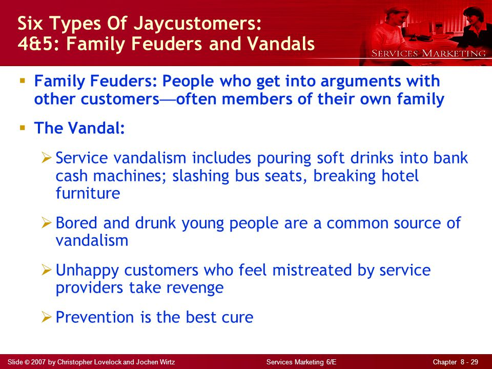Slide © 2007 by Christopher Lovelock and Jochen Wirtz Services Marketing 6/E Chapter 8 - 29  Family Feuders: People who get into arguments with other customers — often members of their own family  The Vandal:  Service vandalism includes pouring soft drinks into bank cash machines; slashing bus seats, breaking hotel furniture  Bored and drunk young people are a common source of vandalism  Unhappy customers who feel mistreated by service providers take revenge  Prevention is the best cure Six Types Of Jaycustomers: 4&5: Family Feuders and Vandals
