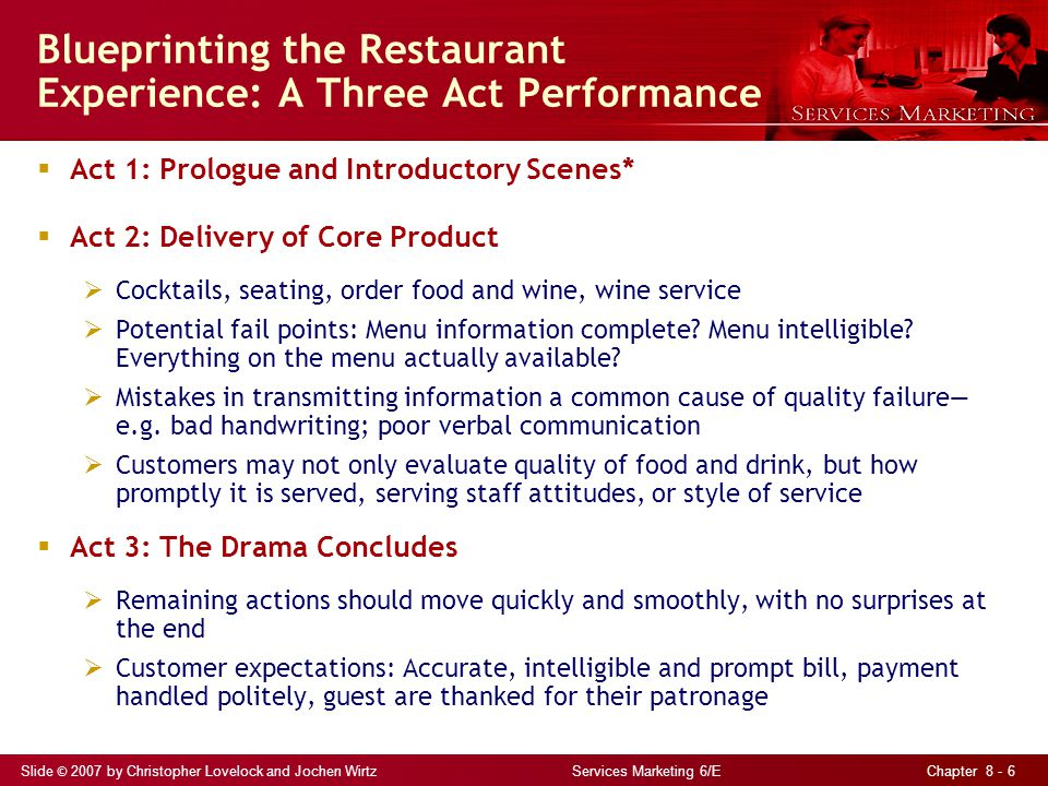 Slide © 2007 by Christopher Lovelock and Jochen Wirtz Services Marketing 6/E Chapter 8 - 6 Blueprinting the Restaurant Experience: A Three Act Performance  Act 1: Prologue and Introductory Scenes*  Act 2: Delivery of Core Product  Cocktails, seating, order food and wine, wine service  Potential fail points: Menu information complete.