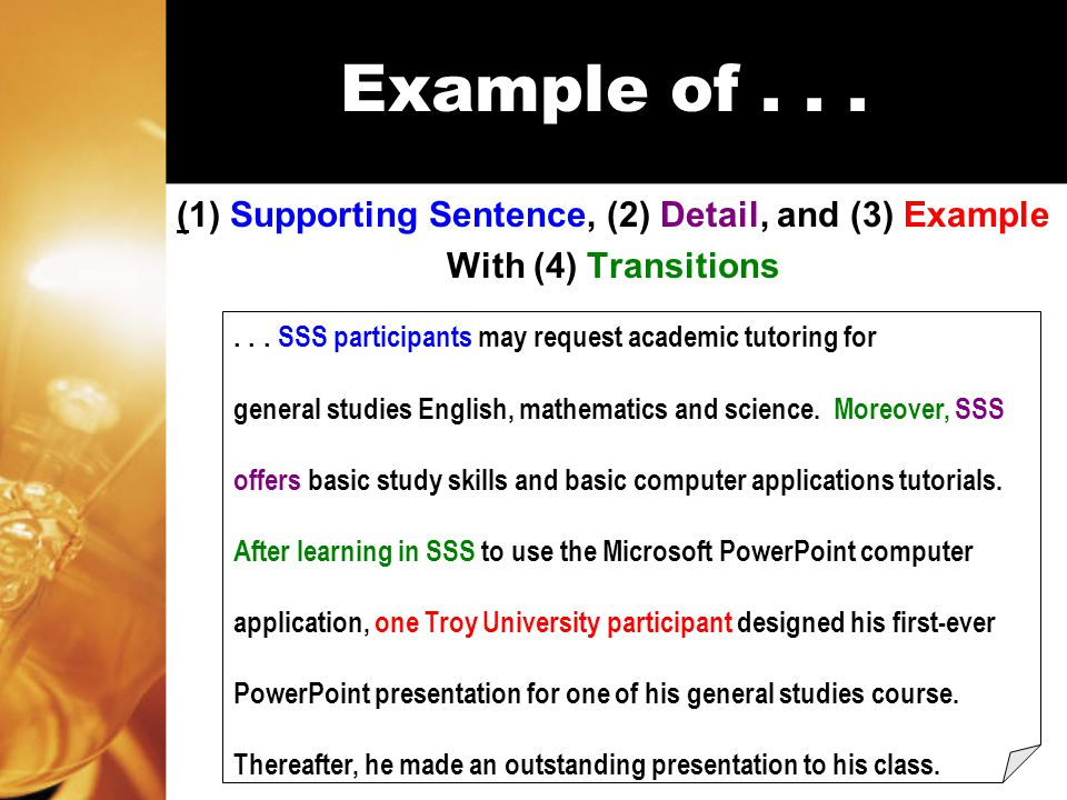 Example of... (1) Supporting Sentence, (2) Detail, and (3) Example With (4) Transitions...