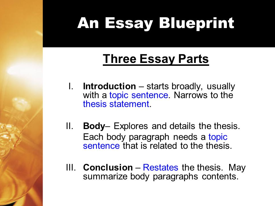 Part 1: Essay Introduction Introduction includes: A General Topic Sentence Clarification of topic sentence with a few other supporting sentences.