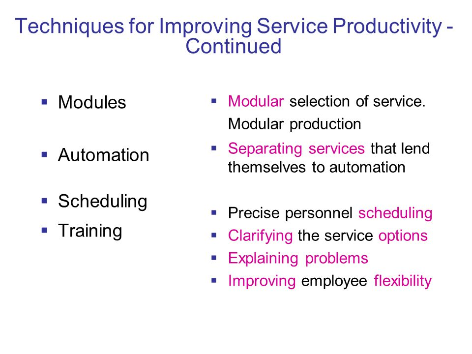 Techniques for Improving Service Productivity - Continued  Modules  Automation  Scheduling  Training  Modular selection of service.