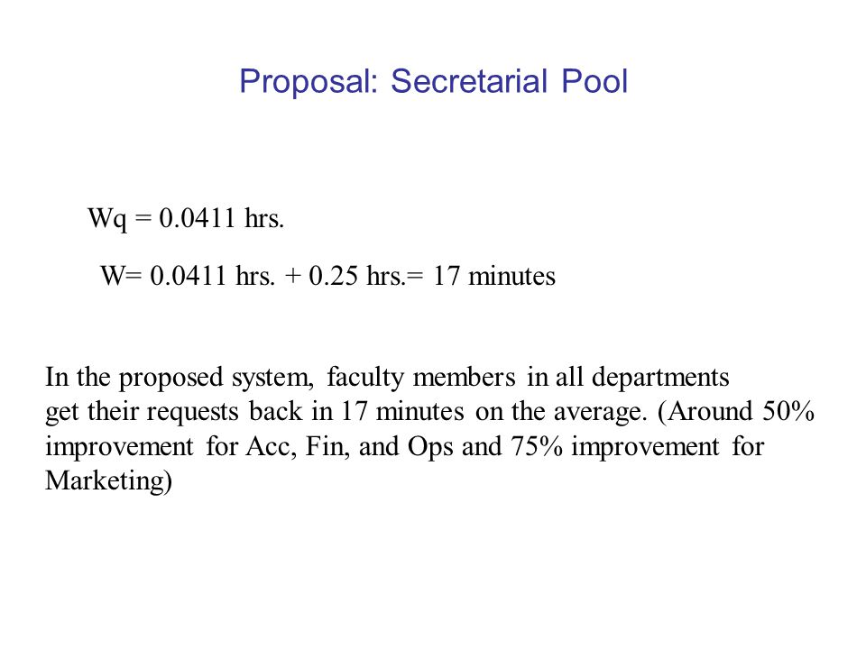 Proposal: Secretarial Pool Wq = 0.0411 hrs. W= 0.0411 hrs.