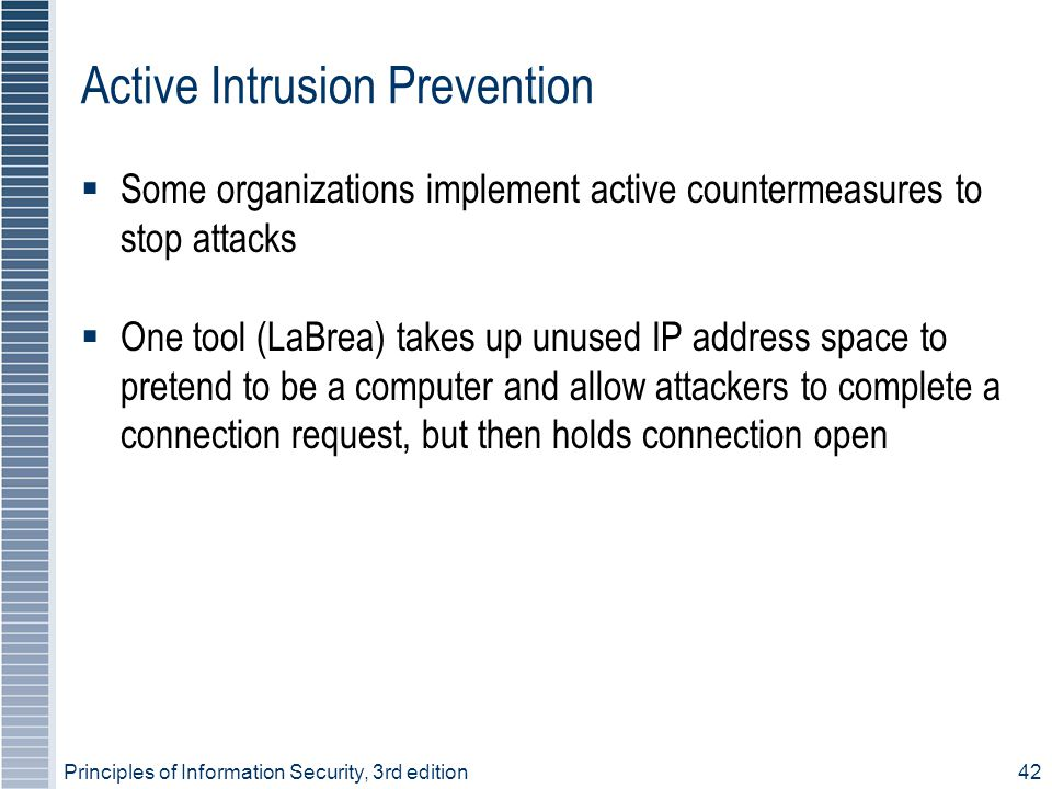 Principles of Information Security, 3rd edition42 Active Intrusion Prevention  Some organizations implement active countermeasures to stop attacks 
