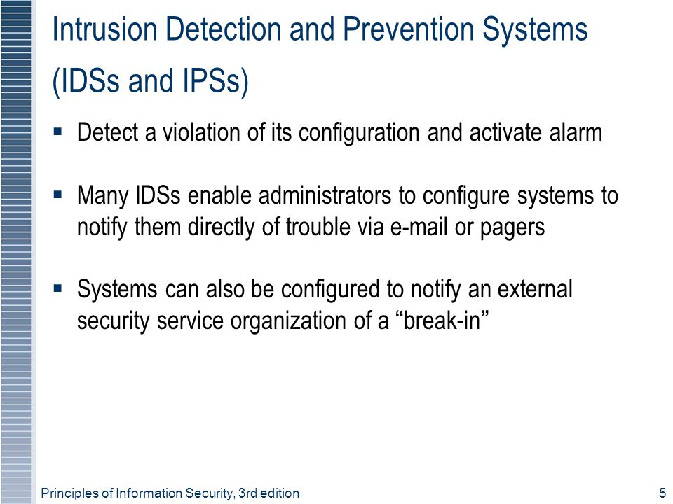 Principles of Information Security, 3rd edition5 Intrusion Detection and Prevention Systems (IDSs and IPSs)  Detect a violation of its configuration
