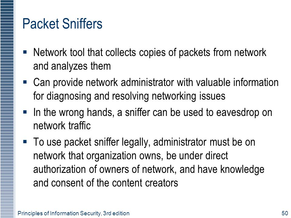 Principles of Information Security, 3rd edition50 Packet Sniffers  Network tool that collects copies of packets from network and analyzes them  Can