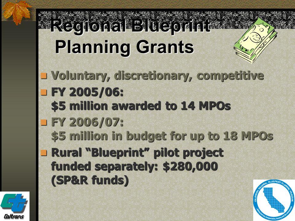 19 Regional Blueprint Planning Grants Voluntary, discretionary, competitive Voluntary, discretionary, competitive FY 2005/06: $5 million awarded to 14