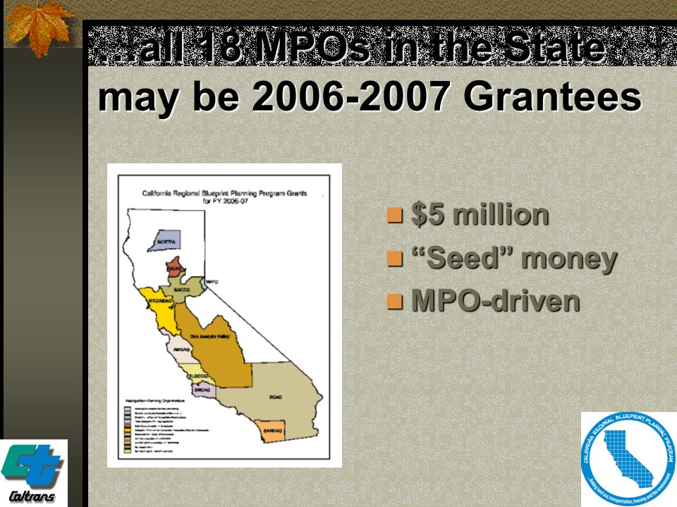 """23 …all 18 MPOs in the State may be 2006-2007 Grantees $5 million $5 million """"Seed"""" money """"Seed"""" money MPO-driven MPO-driven"""