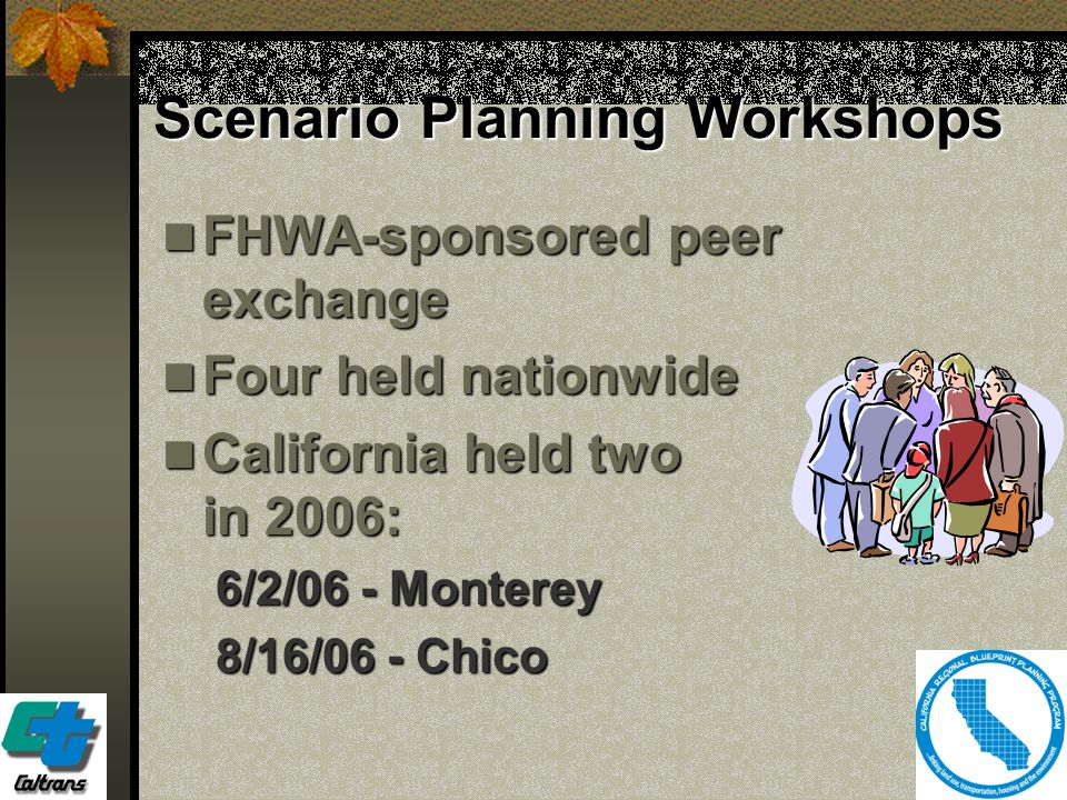 29 Scenario Planning Workshops FHWA-sponsored peer exchange FHWA-sponsored peer exchange Four held nationwide Four held nationwide California held two