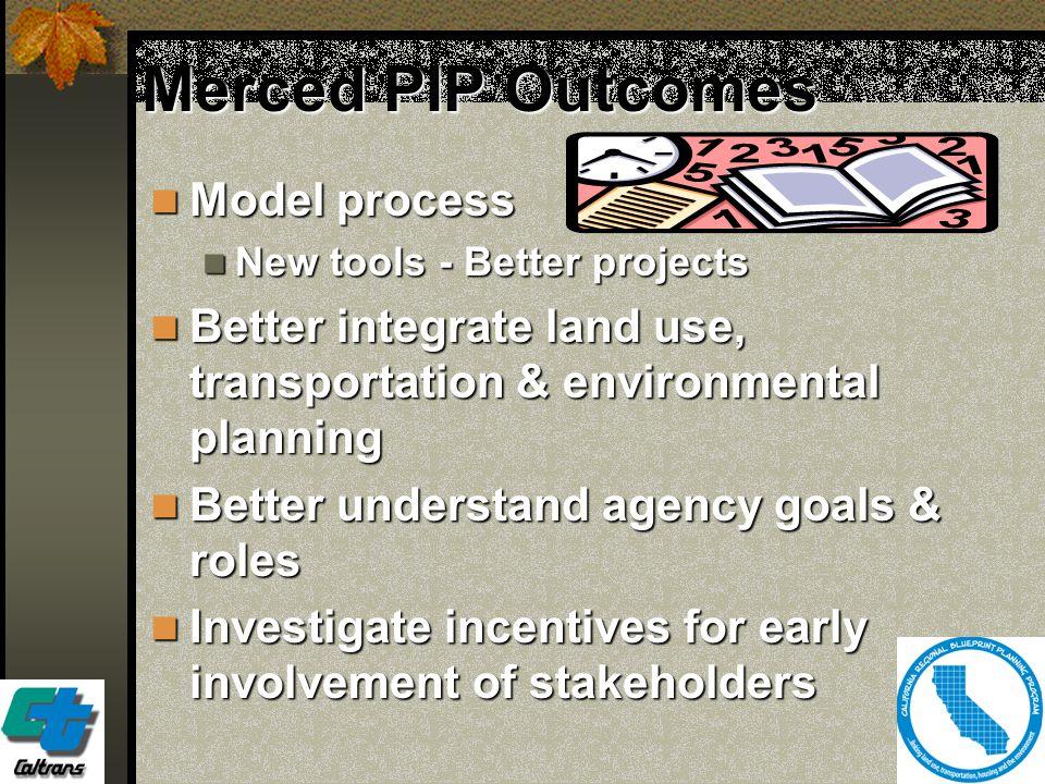 6 Merced PIP Outcomes Model process Model process New tools - Better projects New tools - Better projects Better integrate land use, transportation &