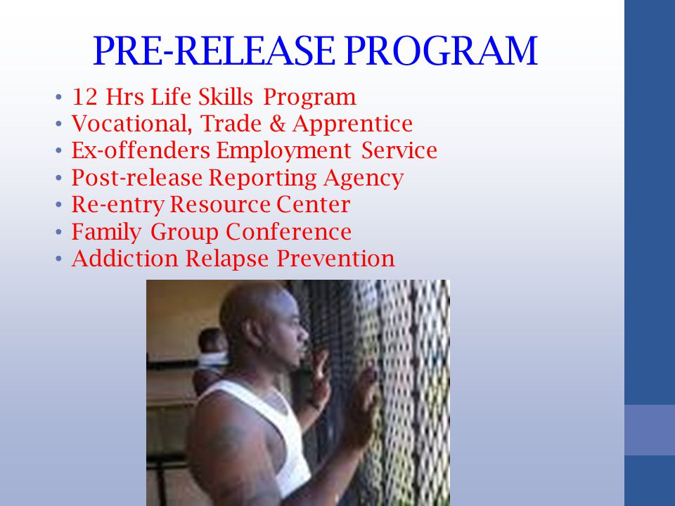 PRE-RELEASE PROGRAM 12 Hrs Life Skills Program Vocational, Trade & Apprentice Ex-offenders Employment Service Post-release Reporting Agency Re-entry Resource Center Family Group Conference Addiction Relapse Prevention
