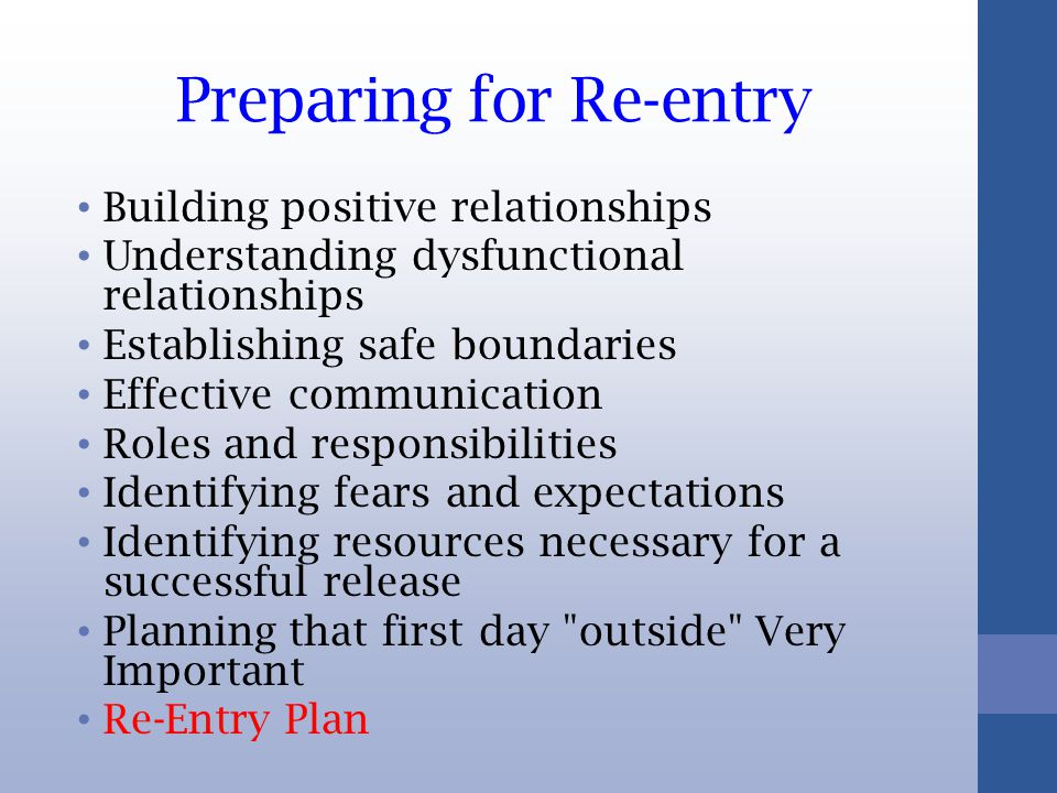 Preparing for Re-entry Building positive relationships Understanding dysfunctional relationships Establishing safe boundaries Effective communication Roles and responsibilities Identifying fears and expectations Identifying resources necessary for a successful release Planning that first day outside Very Important Re-Entry Plan